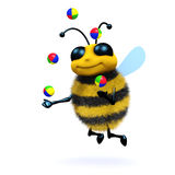 3d Juggling honey bee. 3d render of a honey bee juggling Stock Photography