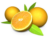 3D juicy oranges with cross section showing the fruit Royalty Free Stock Photo