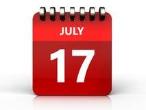 3d 17 juli-kalender Royalty-vrije Stock Afbeelding