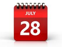 3d 28 juli-kalender Royalty-vrije Stock Fotografie