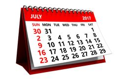 3d july 2017 calendar. 3d illustration of july 2017 calendar isolated over white background Stock Photos