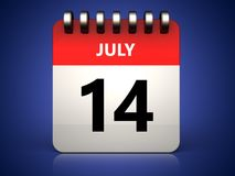 3d 14 july calendar. 3d illustration of 14 july calendar over blue background Royalty Free Stock Photo