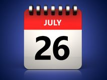 3d 26 july calendar. 3d illustration of 26 july calendar over blue background Stock Images