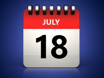 3d 18 july calendar. 3d illustration of 18 july calendar over blue background Royalty Free Stock Photos