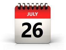 3d 26 july calendar. 3d illustration of 26 july calendar over white background Stock Images