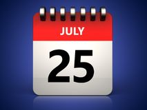 3d 25 july calendar. 3d illustration of 25 july calendar over blue background Stock Image