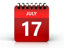 3d 17 july calendar. 3d illustration of july 17 calendar over white background Royalty Free Stock Image
