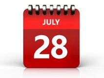 3d 28 july calendar. 3d illustration of july 28 calendar over white background Royalty Free Stock Photography