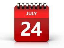 3d 24 july calendar. 3d illustration of july 24 calendar over white background Stock Images