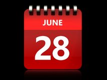 3d 28 june calendar. 3d illustration of june 28 calendar over black background Stock Photography