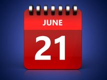 3d 21 june calendar. 3d illustration of june 21 calendar over blue background Stock Images