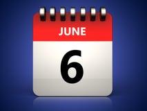 3d 6 june calendar. 3d illustration of 6 june calendar over blue background Royalty Free Stock Photo