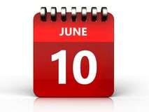 3d 10 june calendar. 3d illustration of june 10 calendar over white background Royalty Free Stock Photo