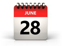 3d 28 june calendar. 3d illustration of 28 june calendar over white background Stock Photography