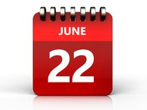 3d 22 june calendar. 3d illustration of june 22 calendar over white background Royalty Free Stock Photo