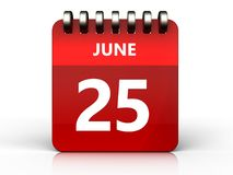 3d 25 june calendar. 3d illustration of june 25 calendar over white background Royalty Free Stock Photo