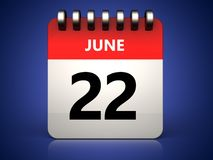 3d 22 june calendar. 3d illustration of 22 june calendar over blue background Royalty Free Stock Photos