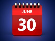 3d 30 june calendar. 3d illustration of june 30 calendar over blue background Royalty Free Stock Image