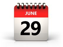 3d 29 june calendar. 3d illustration of 29 june calendar over white background Stock Photo
