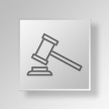 3D justiça Button Icon Concept Fotos de Stock Royalty Free