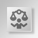 3D justice Button Icon Concept illustration stock