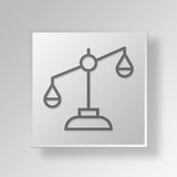3D justice Button Icon Concept Photo stock