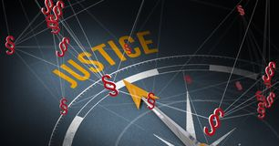 3D Justice text compass and Section symbol icons. Digital composite of 3D Justice text compass and Section symbol icons stock image