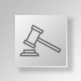 3D justicia Button Icon Concept Fotos de archivo libres de regalías