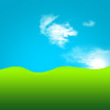 2d künstlerisches Feld des grünen Grases und des Himmels Stockfotos
