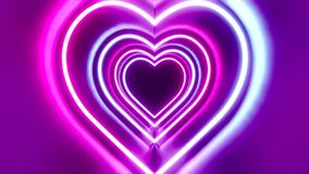 3D 4k abstract tunnel/ neon animation - heart shapes - love concept. Violet, pink, blue colors royalty free illustration