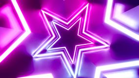 3D 4k abstract tunnel/ neon animation - rotating stars. Violet, pink, blue colors stock illustration