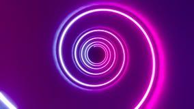 3D 4k abstrakcjonistycznego tunnel/neonowa animacja - ślimakowaty kształt zbiory wideo