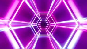 3D 4k abstrakcjonistycznego tunnel/neonowa animacja - ruszać się sześciokąty zbiory wideo