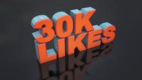 3d 30k likes text. 3d render. 3d 30k likes text Stock Photos