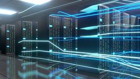 3D 4K server room - data center - storage/ hosting/ fast Internet concept