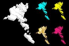 3D kaart van de Faeröer royalty-vrije illustratie