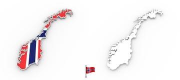 3D kaart van de het witte silhouet en vlag van Noorwegen stock illustratie
