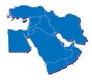 De kaart van het Midden-Oosten in 3D Stock Afbeeldingen