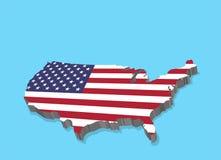 3D Kaart van de V.S. met Amerikaanse Vlag royalty-vrije illustratie