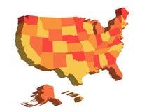 3D kaart van de Verenigde Staten van Amerika, de V.S., verdeelde in staten Vector illustratie Stock Foto's