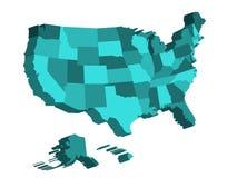 3D kaart van de Verenigde Staten van Amerika, de V.S., verdeelde in staten Vector illustratie Stock Fotografie