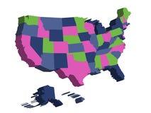 3D kaart van de Verenigde Staten van Amerika, de V.S., verdeelde in staten Vector illustratie Royalty-vrije Stock Foto