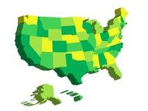 3D kaart van de Verenigde Staten van Amerika, de V.S., verdeelde in staten Vector illustratie Royalty-vrije Stock Foto's