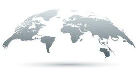3D Kaart van de Wereld in Grijs Stock Afbeelding