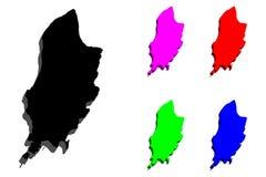 3D kaart van het Eiland Man Stock Illustratie
