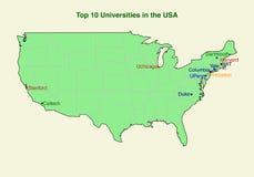 2d kaart van Hoogste (10) universiteit tien in de V.S. Royalty-vrije Stock Fotografie