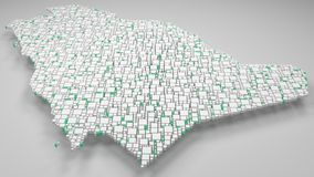 3D Kaart van Koninkrijk van Saudi-Arabië Stock Foto