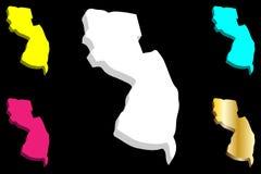 3D kaart van New Jersey stock illustratie