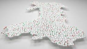 3D Kaart van Wales - het UK Royalty-vrije Stock Afbeeldingen
