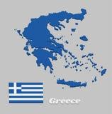 3D Kaartoverzicht en vlag van Griekenland, Negen horizontale strepen, op zijn beurt blauw en wit; een wit kruis op een blauw vier stock illustratie